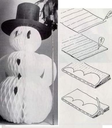 Как сделать снеговика объемного из бумаги
