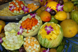 tropical fruits and melon displays