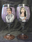 Hand Painted Personalized Wedding Wine Glass~Bride and Groom Wine Glasses