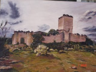 """Castillo de Peñafiel"".- Pintura al oleo realizada por Juan Antonio Antúnez Morán"