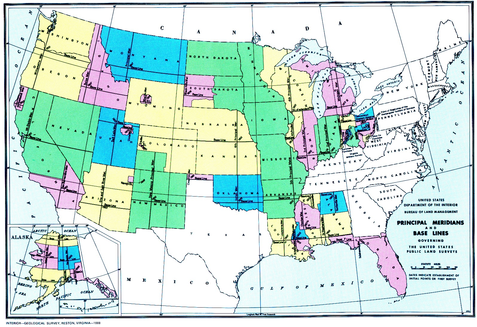 the public land survey system type of map is very important because it legally outlines land parcels this particular map shows the united states and it s