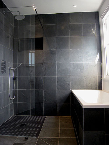 The tile shop design by kirsty 5 2 10 5 9 10 for Black tile bathroom designs