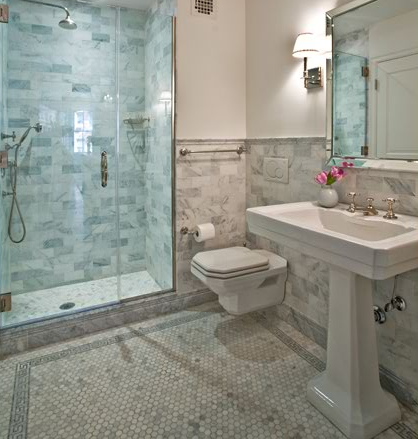 The tile shop design by kirsty 8 15 10 8 22 10 for Carrara marble bathroom floor designs