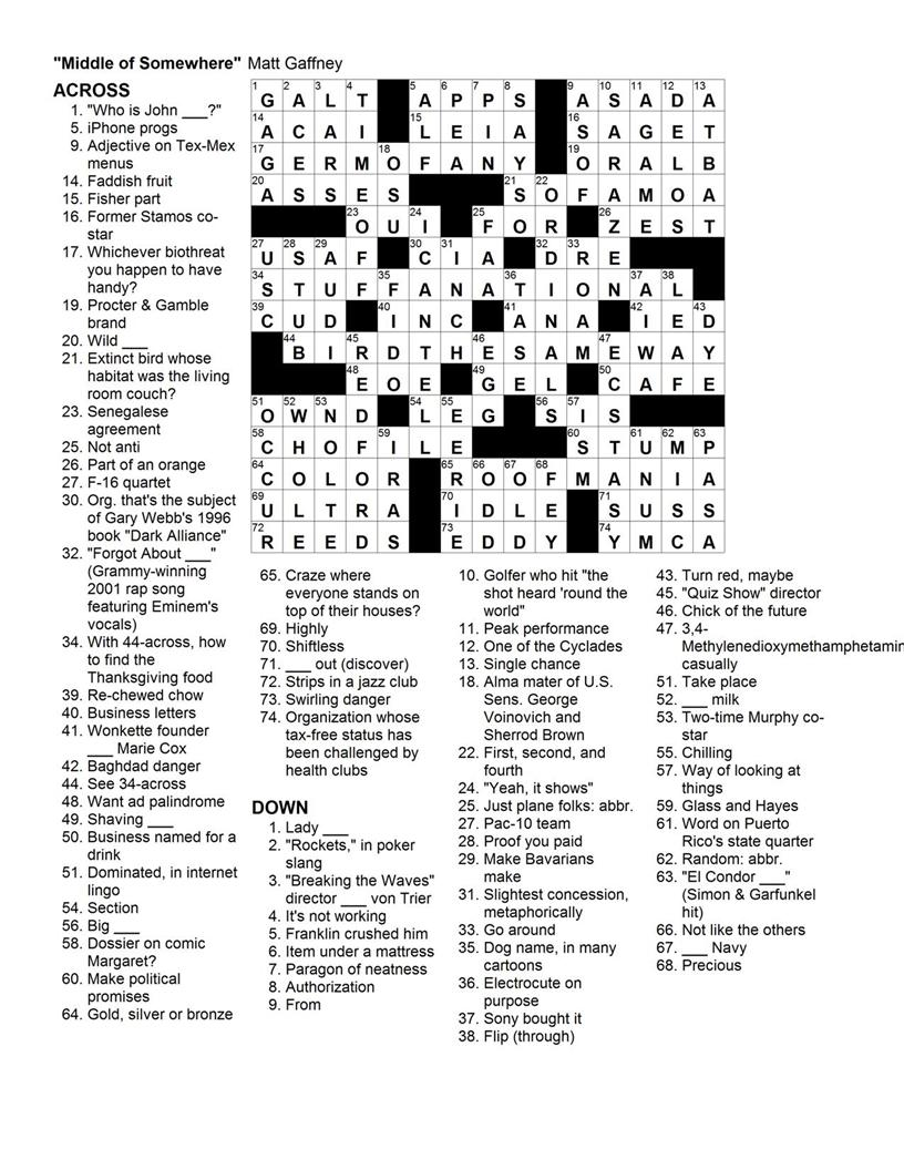 Matt Gaffney S Weekly Crossword Contest 2009