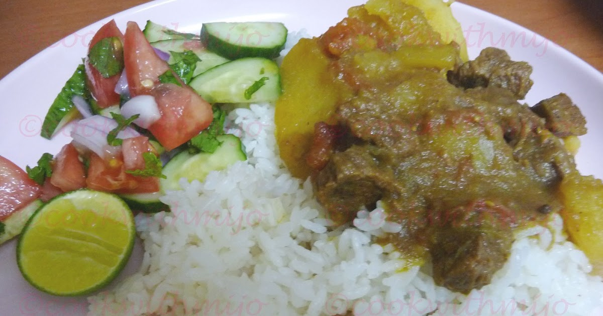 ... from Mauritius!: Beef curry with green papaya/Green papaya curry
