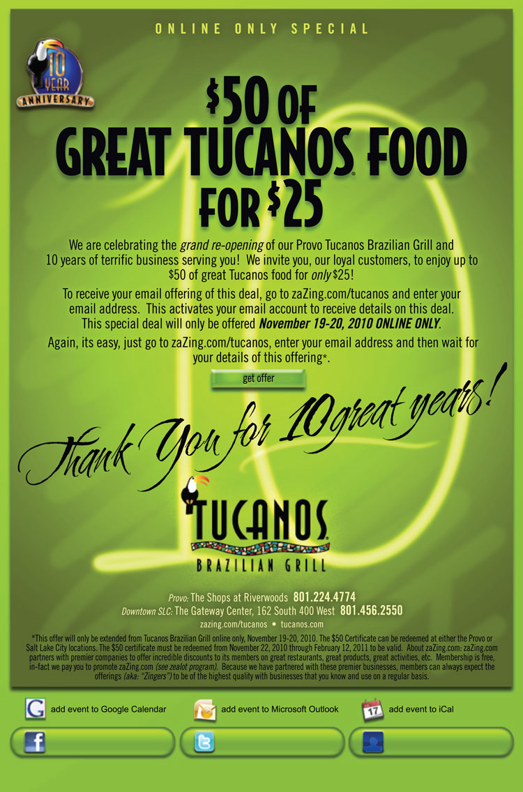 Discount coupons for tucanos