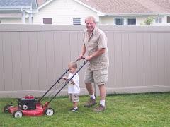 Grandpa and Bo doing Yardwork