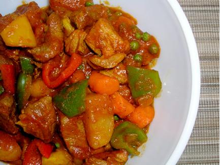 Over rice afritada filipino pork and chicken stew my husband loves the pork and my mother loves the chicken so you cant go wrong i made some changes to make it easier forumfinder Gallery