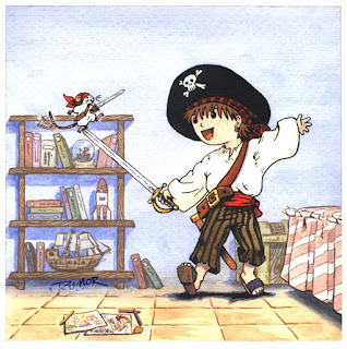 Ilustración infantil de piratas, hecha por ªRU-MOR