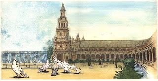 Ilustración cuento infantil de la Plaza de España en Sevilla, hecha por ªRU-MOR