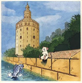 Ilustración cuento infantil de la Torre de Oro en Sevilla, hecha por ªRU-MOR
