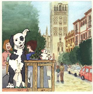 Ilustración cuento infantil de la calle Mateo Gago en Sevilla, hecha por ªRU-MOR