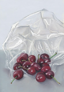 cherries in a bag daily pastel painting