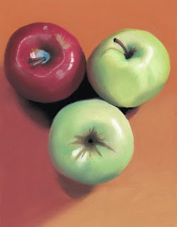 three apples daily pastel painting