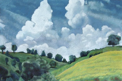 hilly landscape pastel painting