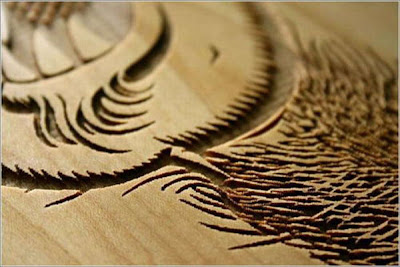 Laser wood engraving