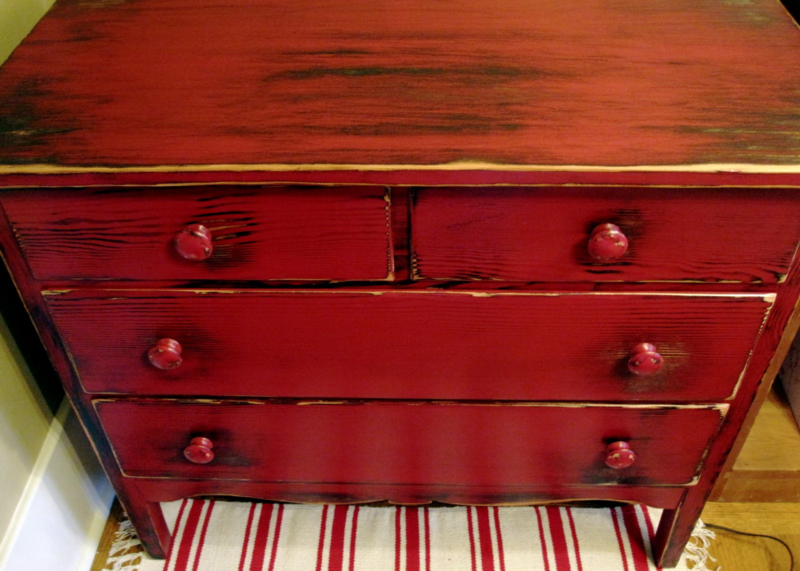 sweet tree furniture apple red rustic lowboy