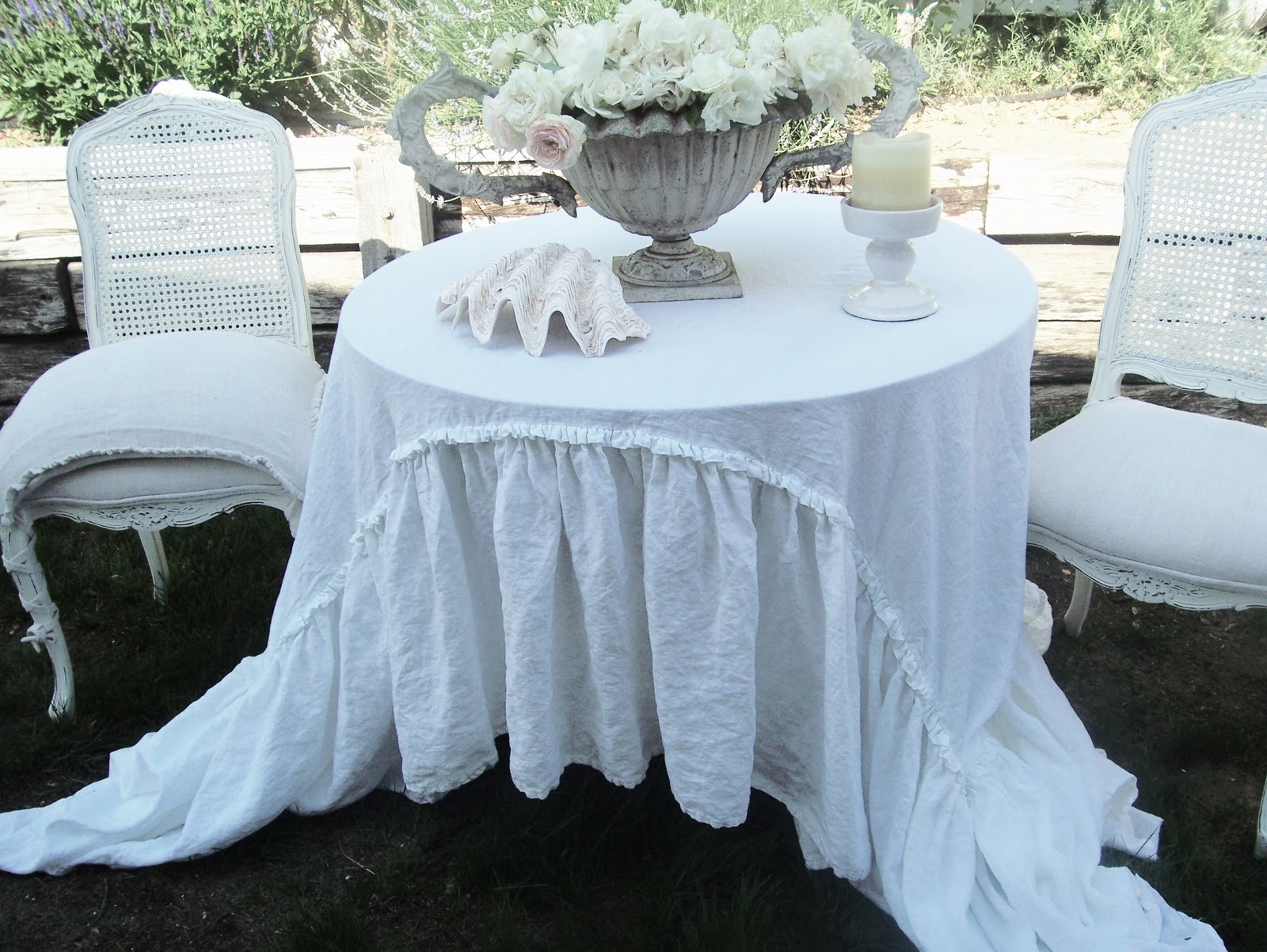 Full Bloom Cottage: Belgian Linen Ruffle Tablecloth ... Ruffled Tablecloth