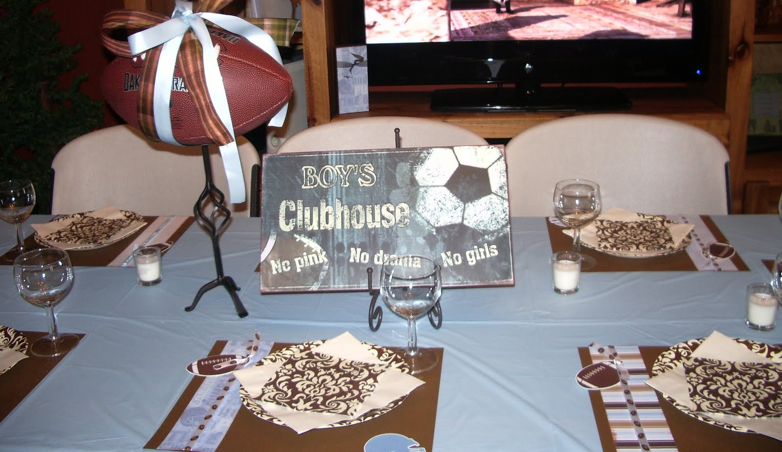 an elegant twist on a football themed baby shower