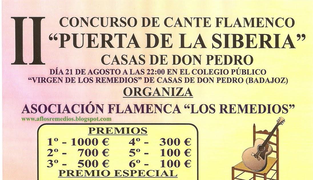 Concursos flamencos semifinales ii concurso de cante flamenco puerta de la siberia casas de don - Casas de don pedro badajoz ...
