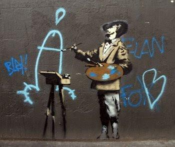 Banksy pinta penes @ Zombie con Wayfarers