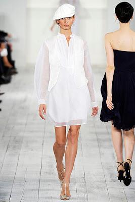 white cap, white waist coat, ralph lauren spring summer 2010