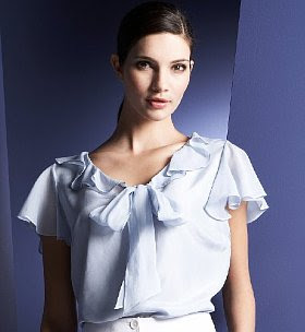 Silk ruffle tie top, silk top from autograph