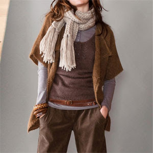 autumn look in muted colours, Kimono style cardigan