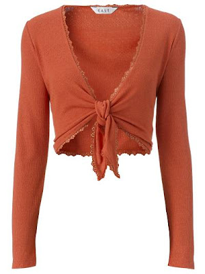 East Tie Front Pointelle Shrug in Nectarine, Ladies Knitwear Autumn/ Winter 09/10