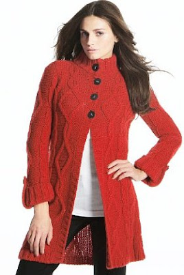 lon red cardigan, wool cardigan