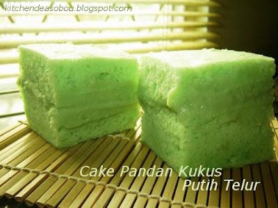 Cake Pandan Kukus Putih Telur