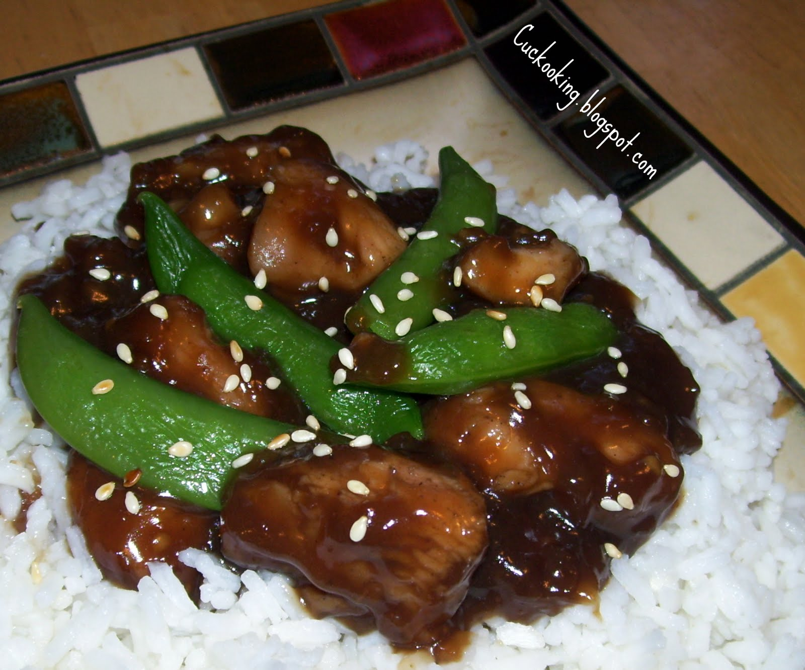 Cooking Creation: Sesame Chicken and Sugar Snap Peas over Rice