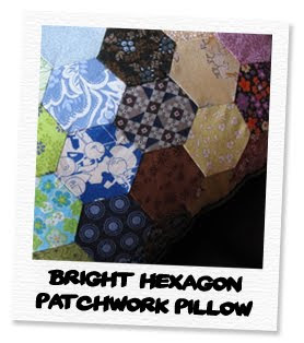 bright hexagon patchwork pillow