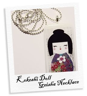 kokeshi doll geisha necklace