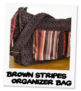 brown stripes organizer bag