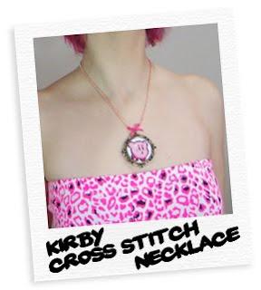 kirby cross stitch cameo necklace