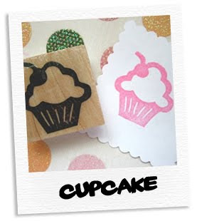 cupcake hand carved stamp