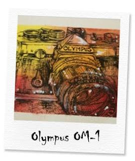 olympus om-1 camera notecard