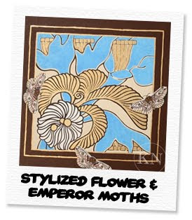 stylized flower and emperor moths