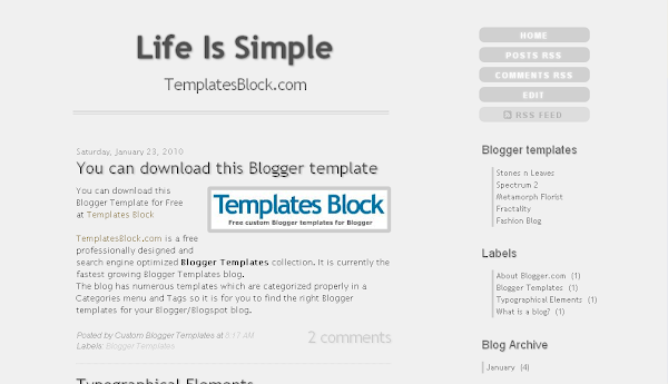 Life is Simple Blogger Template