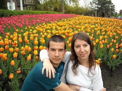 Adrian y Sole en Le Parc de Commissaires con la mayor concentración de tulipanes