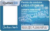 Ejemplo de un permiso de conducir de Québec