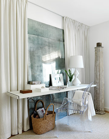 This White On White Interior Designed By Lindsey Bond In House Beautiful Is  Particularly Evocative. Her Use Of Frameless, Grand Scale, Antique Mirror  ...