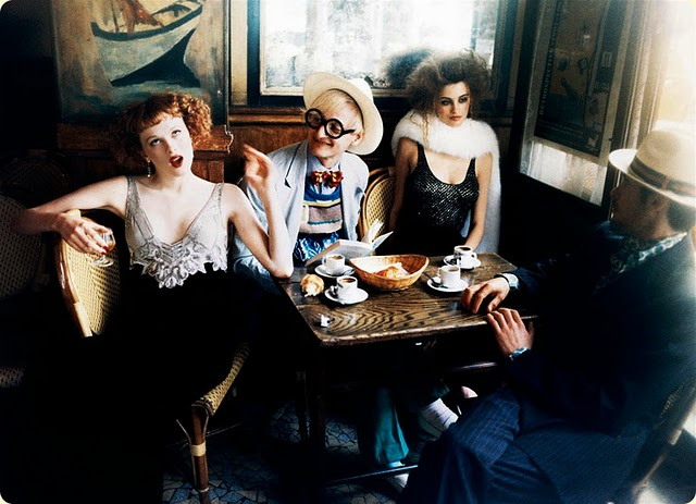 art nouveau inspired photo shoot with Karen Elson in a vintage diner, styled by Grace Coddington