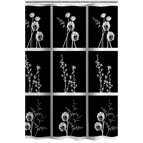 Bathroom Accessories Black And White Shower Curtain Exposed Floral Fabric Shower Curtain