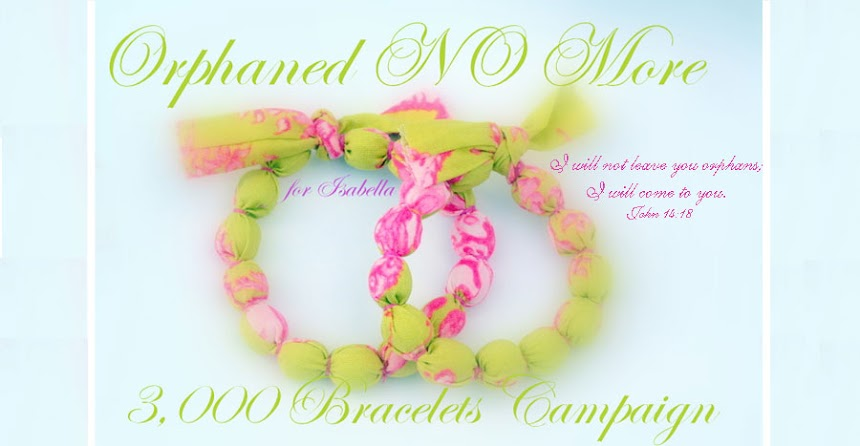 "Orphaned NO More... the ""for Isabella""  3,000 Bracelets  Campaign"