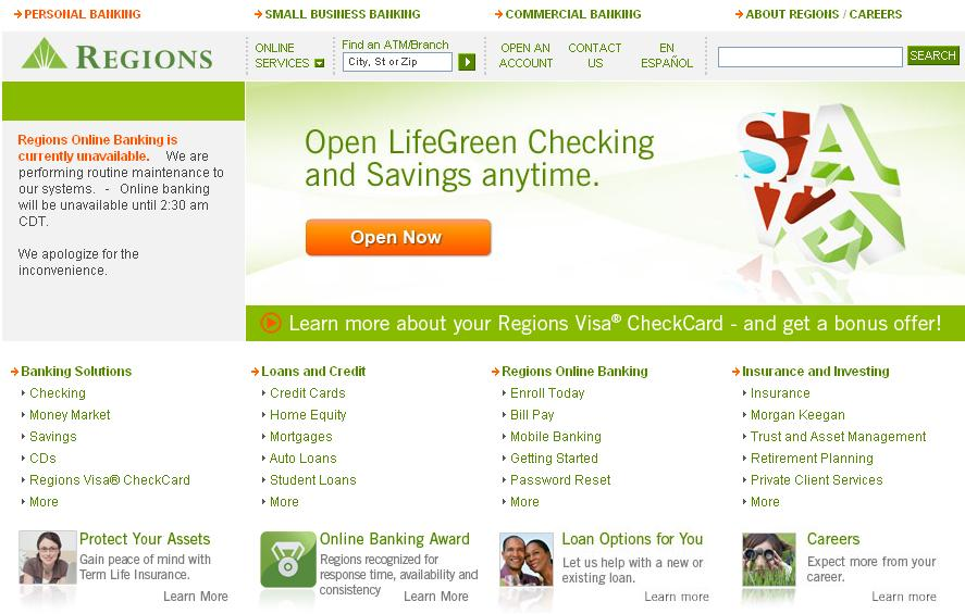 regions bank online login