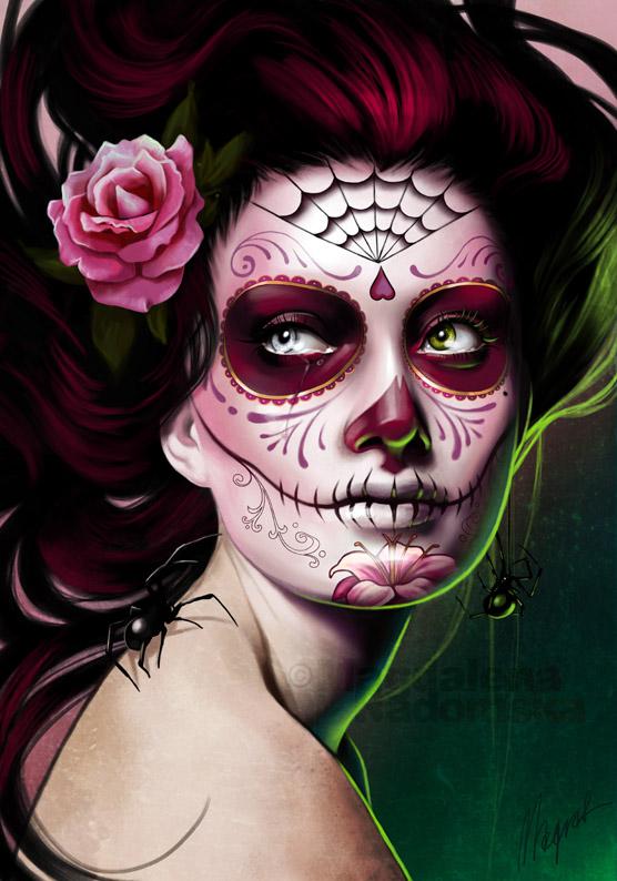 maquillage halloween tete de mort