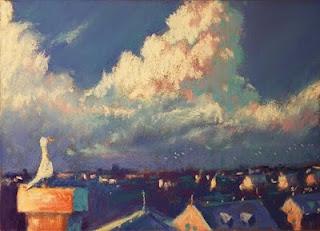 pastel sketch city roof bird clouds evening pixar dominque louis soft pastels