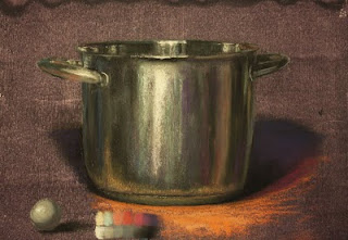 pastel painting ikea cooking pot metal reflections still life soft pastels